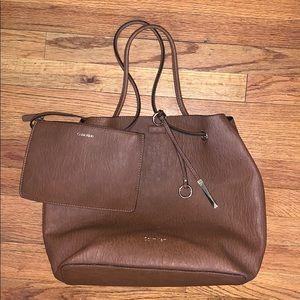 CK Gabrianna Textured Grain Tote Bag + Zip Pouch